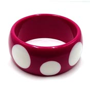 Berry Pink With White Polka Dots Acrylic Bangle Bracelet