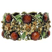 Fall Colors Enamel Flower Leaf And Rhinestone Cuff Bracelet