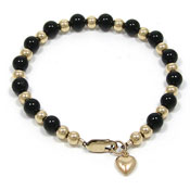 Vintage Onyx Gold Filled Bead Bracelet With 14K Heart Charm