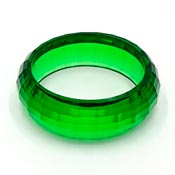 Vintage Faceted Transparent Green Lucite Bangle Bracelet