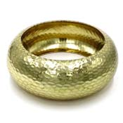 Vintage Hammered Gold Plated Brass Bangle