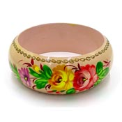 Hand Painted Russian Wooden Flower Bangle Folkart