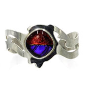 Sterling Silver Taxco Mexico Dichroic Glass Cuff Bracelet