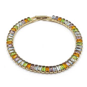 Monet Gold Multicolored Baguette Rhinestone Bracelet