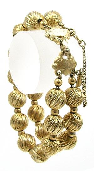 Vintage Monet Gold Textured Balls Bracelet