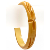 Vintage Deeply Carved Mustard Yellow Bakelite Bangle
