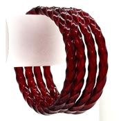 Ruby Red Twist Murano Glass Bangle Set Of Four