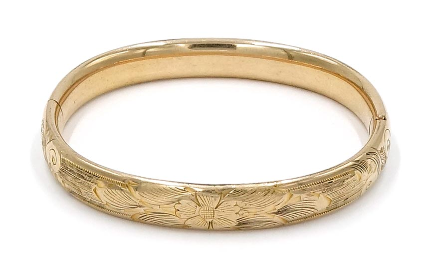 Victorian Gold Filled Hinged Bangle Bracelet