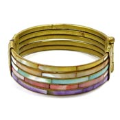Dyed Shell Brass Hinged Bracelet From India