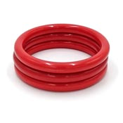 Vintage Set Of Three Red Tubular Bangle Bracelets