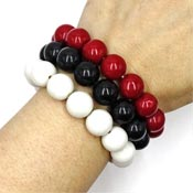 Set Of Three Vintage Style Acrylic Ball Beaded Bracelets