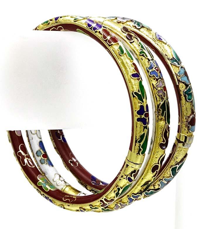Three Cloisonne No Back Fill Bangle Bracelets Set