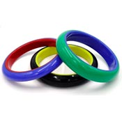 Three Laminated Acrylic Color Block Bangles