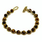 Handmade Tiger Eye And 22K Plated Beads Daisy Chain Bracelet NWT