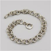 Vintage Sterling Charm Bracelet Double Chain Base