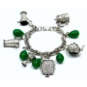 Tea Service And Green Glass Drops Charm Bracelet