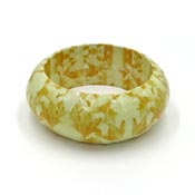 Yellow Flower Decoupage Bangle Bracelet