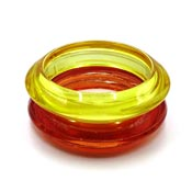 Vintage Yellow And Red Orange Striped Saucer Bangle Set
