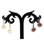 Two Pairs Rhinestone And CZ Leverback Earrings