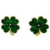 Enamel Four Leaf Clover Earrings Avon Pierced Or Clips