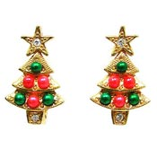 Vintage Avon Christmas Tree Earrings