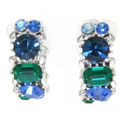Vintage Blue And Green Rhinestone Clips By Lisner