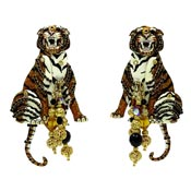 Lunch At The Ritz Black Tie Tiger Earrings