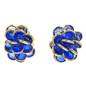 Vintage Blue Swarovski Bezel Set Cluster Earrings