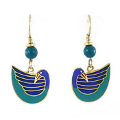 Laurel Burch Dangling Blue Bird Earrings Vintage