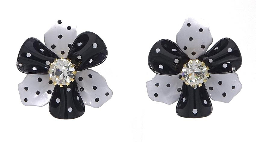 Vintage Black And White Polka Dot Flower Earrings Avon