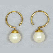 Carolee Vermeil White Faux Pearl Earrings