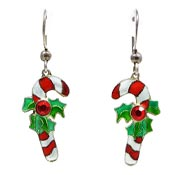 Sterling Silver Enameled Candy Cane Earrings Newer Chinese Export