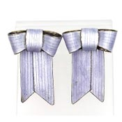 Sterling Enamel Periwinkle Bow Convertible Chinese Earrings 1970s