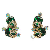Vintage Juliana D&E Green Rhinestone Earrings