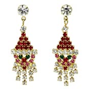 Rhinestone Santa Claus Dangle Earrings