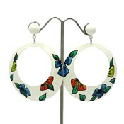 Vintage Handpainted Flower White Metal Hoop Earrings NOC