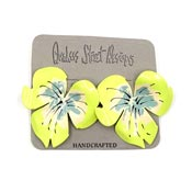 Vintage Handpainted Yellow Metal Flower Earrings NOC