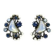 Florenza Blue Rhinestone Pearl Sea Opal Glass Earrings