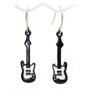 Vintage Black Guitar Earrings