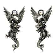 Rare Flying Dragon Earrings With Crystals By JJ Vintage