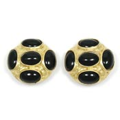 Vintage Kenneth Jay Lane Black And Gold Earrings