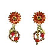 Lunch At The Ritz Orange Daisy Earrings