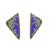 Vintage Laurel Burch April Butterfly Earrings In Blue Teal And Purple