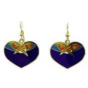 Vintage Laurel Burch Blue Heart Birds Earrings