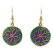 Vintage Laurel Burch Flower Moon Earrings Teal Purple