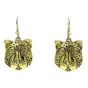 Rare Vintage Laurel Burch Gold Leopard Face Earrings
