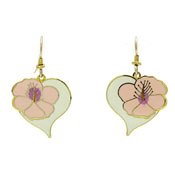 Vintage Laurel Burch Hibiscus Heart Earrings