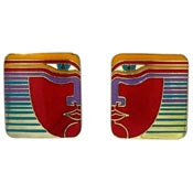Vintage Laurel Burch Vayu Earrings Red