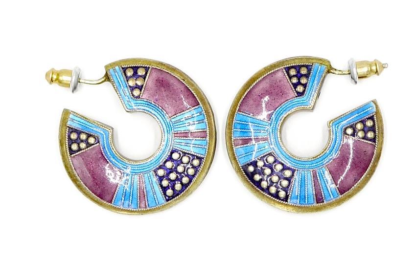 Rare Early Laurel Burch Sterling Enamel Earrings