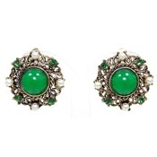 Vintage Lisner Green Pearl And Gold Earrings